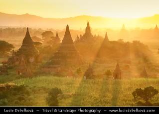 Myanmar - Bagan - Pagan - Ancient city during beautiful sunset