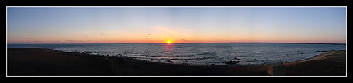 ocean panorama sun west water sunrise island coast massachusetts rise westport gooseberry gooseberryisland