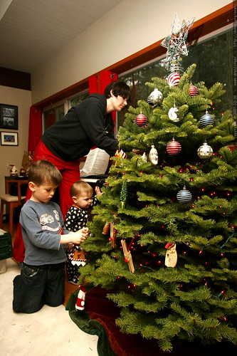 rachel and her boys decorating the christmas tree    MG 6760