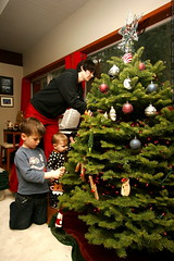 rachel and her boys decorating the christmas tree   …