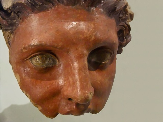 Fragment of the face of a terracotta statue of Apollo Roman Beginning of 3rd century BCE