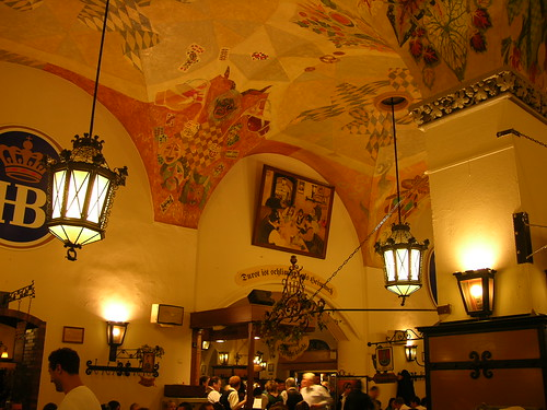 Interior and ceiling of the Hofbräuhaus am Platzl beer hall - Munich - Germany