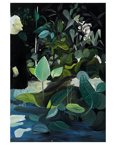 Ilustración: una anciana paseando entre unas plantas