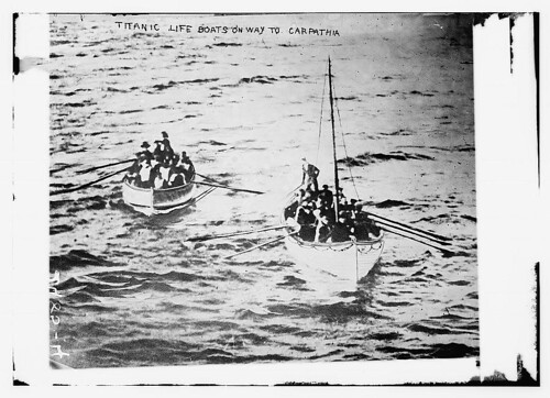 TITANIC life boats on way to CARPATHIA (LOC)