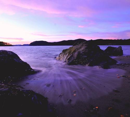 sunset sea beach water rock evening shoreline pugetsound whidbey