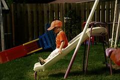 backyard, outdoor play equipment, play, leisure, swing, playground slide, playground, sitting,