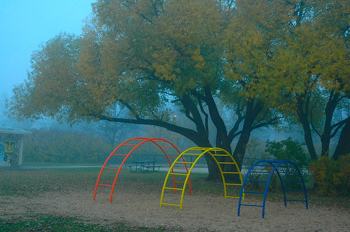Early morning monkey bars in the fog