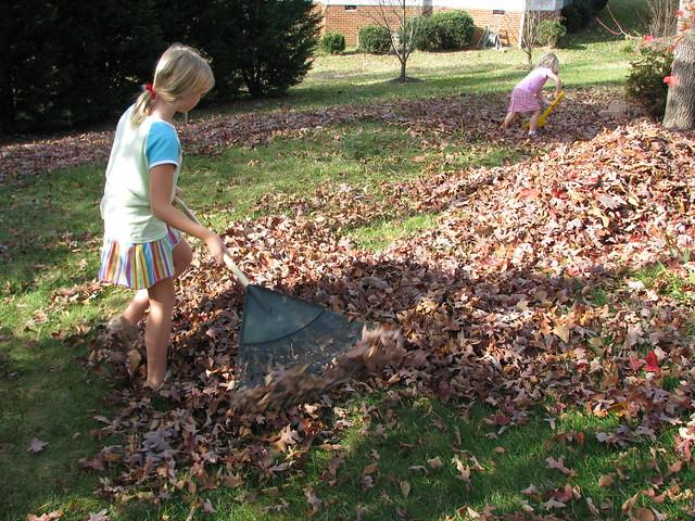 Girls Raking Leaves from Flickr via Wylio