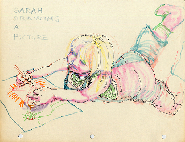 Sarah Drawing a Picture, ink on paper by Emmy Ezzell, circa 1984.