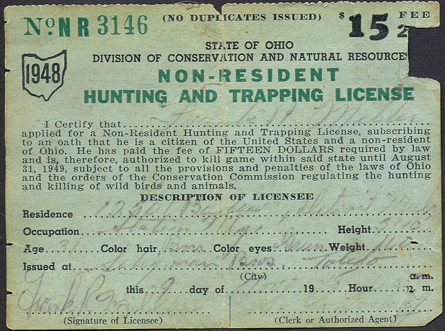 1948 ohio non resident hunting license flickr photo for Michigan non resident fishing license