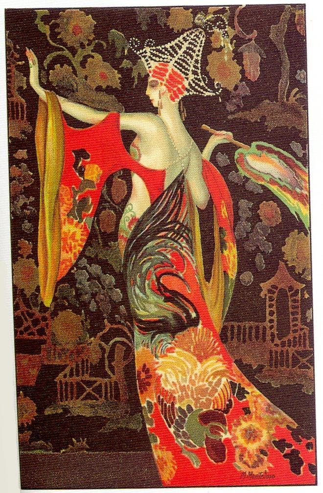 the flapper girl m montedoro art deco postcard 5 1920s. Black Bedroom Furniture Sets. Home Design Ideas