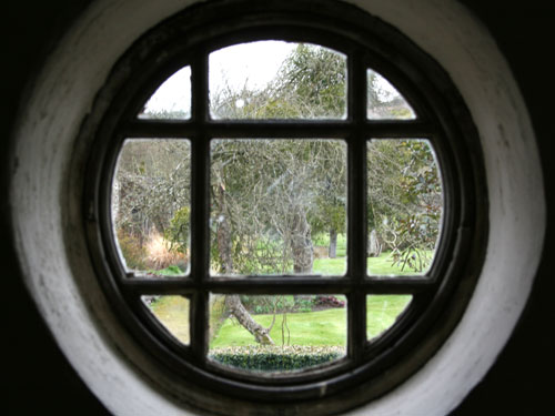 Looking out of the Wendy House window at Parham House