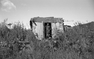Clam diggers' shack near Kukak Bay, Alaska, 1964