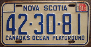 NOVA SCOTIA 1981 license plate