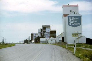 United Grain Growers, Alberta Wheat Pool, and other grain elevators near Milk River, Alberta