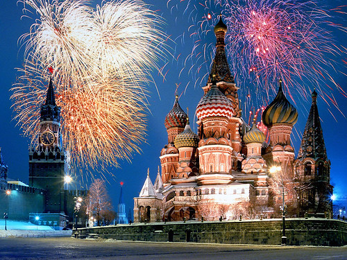 Moscow fireworks - view from Hotel Baltschug Kempinski Moscow
