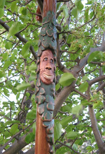 Shamrock wood spirit irish pride themed folk art carved