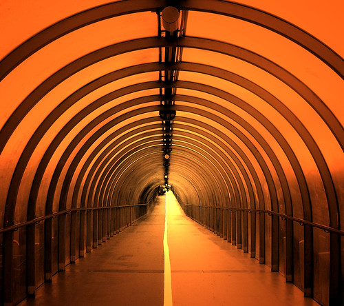 sunset sky orange glass glasgow steel perspective july pedestrian tunnel ring walkway distance 2007 aplusphoto