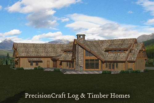 Located In Vermont Rendering Post Beam Log Home By