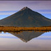 Taranaki reflected in the Pouakai Tarns by katepedley
