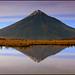 Taranaki reflected in the Pouakai Tarns by katepedley