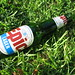 Epic Lager bottle on the grass