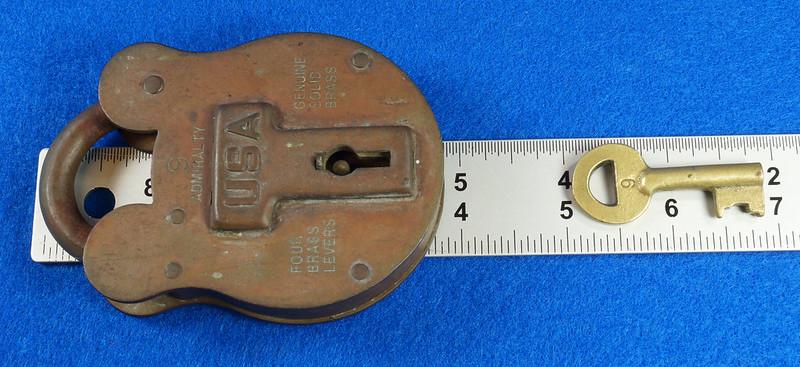 RD15222 Admiralty 4 Lock USA 4 Brass Levers DBC Lock Co LTD 004-02-01 Steampunk DSC08845