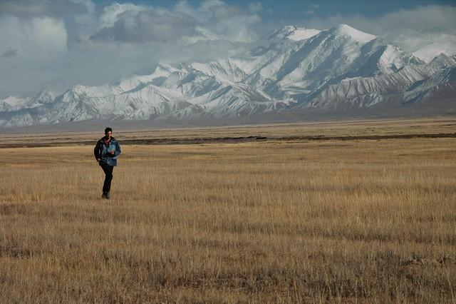 Man Running in Mountains - Lenin Peak, Kyrgyzstan