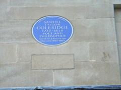 Photo of Samuel Taylor Coleridge blue plaque