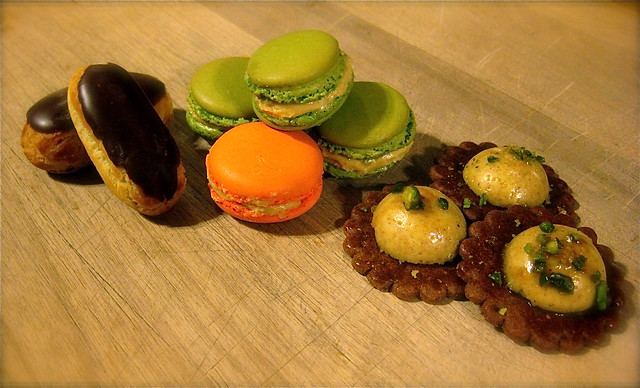 chocolate eclairs, orange and pistachio macarons, & pistac… | Flickr ...