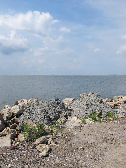 Shoreline concrete loaves of Sabine Lake.