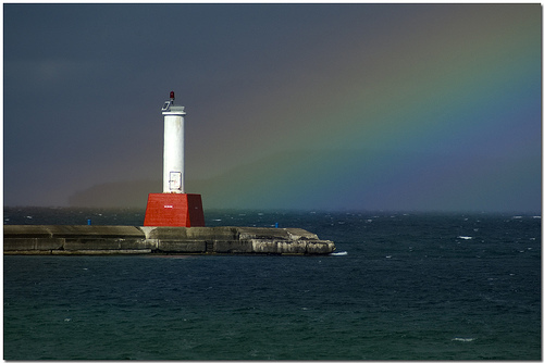 lighthouse rainbow waterfront michigan petoskey littletraversebay
