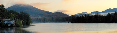 autumn fog landscape dawn inn woods october mirrorlake pano fallfoliage upstatenewyork pinksky adirondack lakeplacid firtree fallcolours scenicview