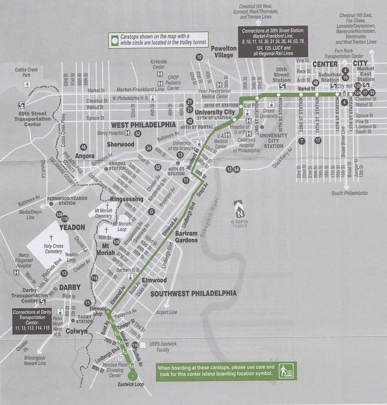 SEPTA 2014 Trolley 36 Map