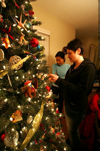 rachel admiring sachi's crafty xmas ornaments    MG 8209