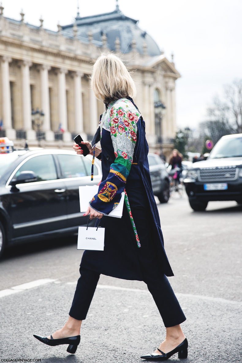 Paris_Fashion_Week_Fall_14-Street_Style-PFW-_Chanel-Floral_Print-trench_Coat-Mary_Jane_Shoes-