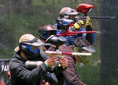 individual sports(0.0), contact sport(0.0), shooting sport(0.0), sports(0.0), combat sport(0.0), shooting(1.0), recreation(1.0), outdoor recreation(1.0), team sport(1.0), games(1.0), paintball(1.0),