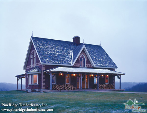Custom timber frame home pineridge timberframe flickr for Timber frame farmhouse plans