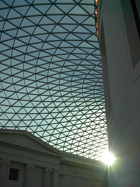 British Museum roof. The patterned dome of the British Museum courtyard