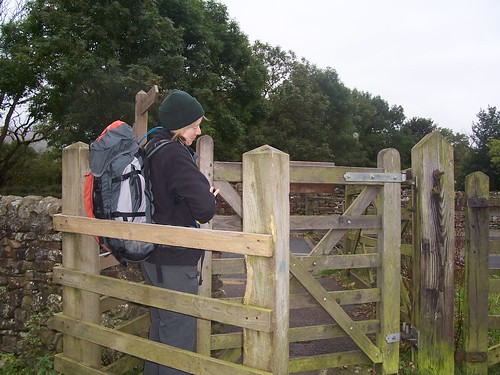 Squeezing through the kissing gate at Hawes