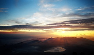 Sunrise from summit of Mount Fuji