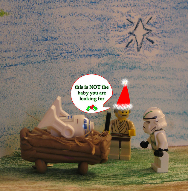 Lego Star Wars faux nativity scene Christmas Card 2007: take 1