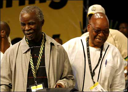 Thabo Mbeki and Jacob Zuma at the ANC Conference in  Polokwane. Zuma won the elections to become the new president of the ruling party in South Africa. by Pan-African News Wire File Photos