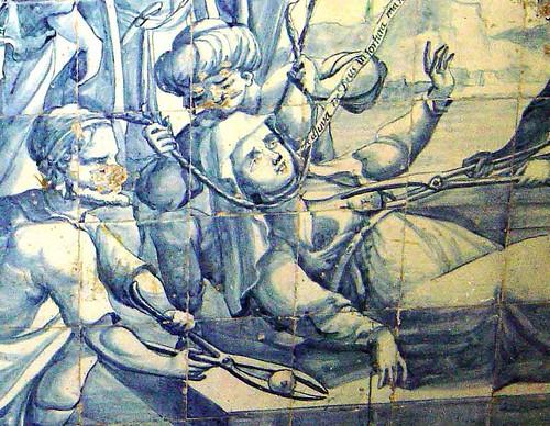Queen Ketevan's martyrdom (azulejos in the Graça convent, Lisbon)