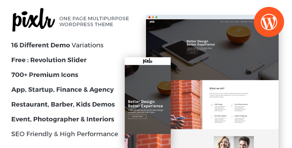 Pixlr v1.0 - Premium One Page Multipurpose WordPress Theme