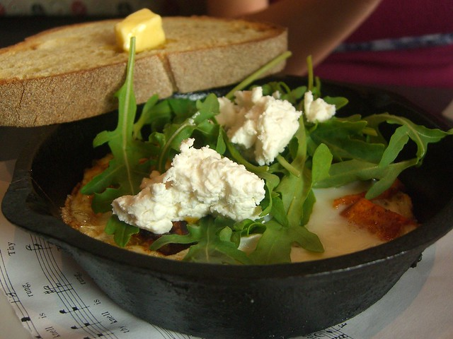 Baked Eggs with Roasted Sweet Potatoes, Rocket and Goats Curd Cheese ...
