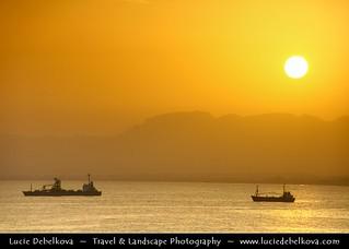Yemen - Sunset over Al Mukhala mountains