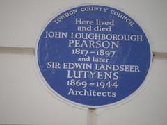 Photo of John Loughborough Pearson and Edwin Lutyens blue plaque