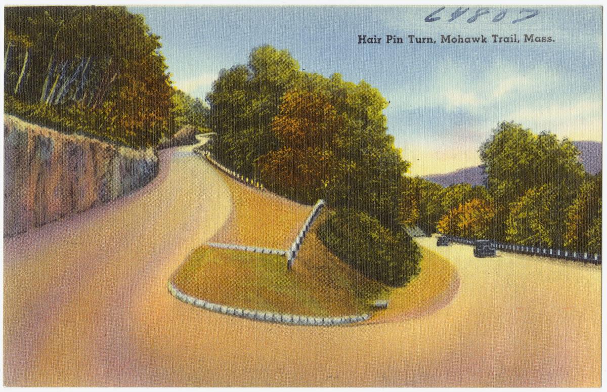 hairpin turn, mohawk trail, north adams, massachusetts, postcard