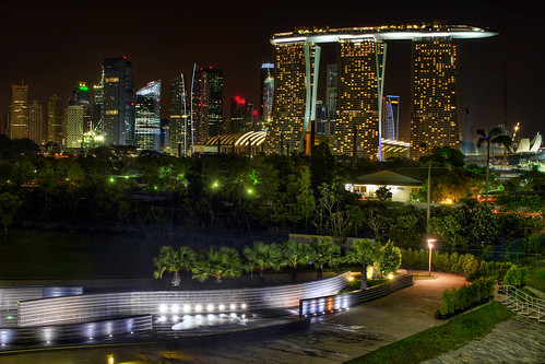 Singapore Skyline View from Marina Barrage - HDR